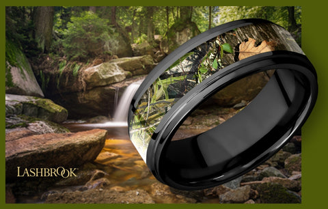 Lashbrook Wedding Ring made of Black Zirconium with a MossyOak Obsession Insert