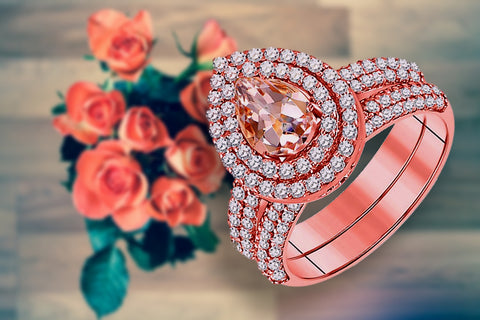 14k Rose Gold Morganite and Diamond Bridal Set