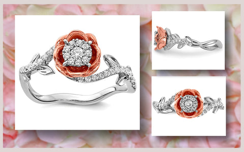 Diamond Rose Ring in 14k Rose and White Gold