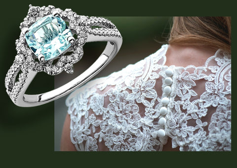 Vintage Aquamarine and Diamond Engagement Ring