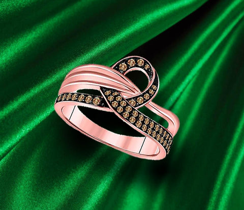 Rose Gold and Brown Diamond Ribbon Ring