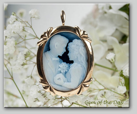 Blue Agate Bride and Groom Cameo Pin-Pendant Brooch