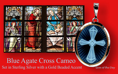 Blue Agate Cross Cameo Pendant