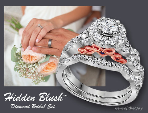 HIdden Blush Diamond Engagement Ring and Wedding Ring