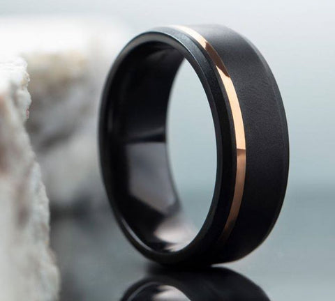 14k Rose Gold and Black Zirconium Wedding Band by Lashbrook