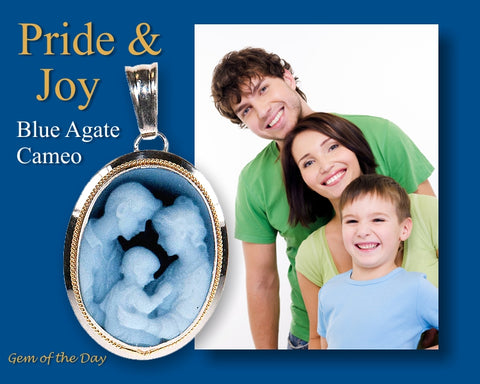 Mother, Father and Child depicted in a Blue Agate Cameo Pendant