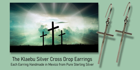 Klaebu Long Silver Cross Drop Earrings