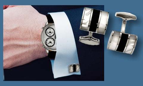 Genuine Onyx and Mother of Pearl Cufflinks