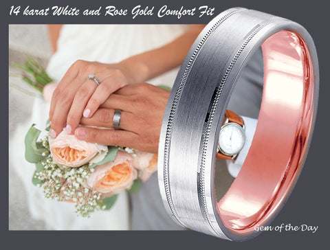 Hidden Blush 14k White and Rose Gold Wedding Band