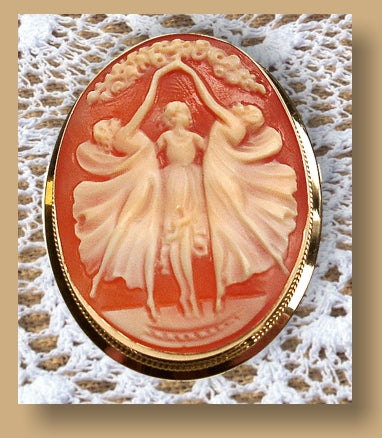 Three Graces Cameo Brooch, Hand Carved from DiVinci Cameos