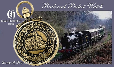 Charles-Hubert Paris Steam Locomotive Pocket Watch
