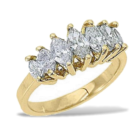 Seven Marquise Diamonds Anniversary Ring, Yellow, White or Rose 14k Gold