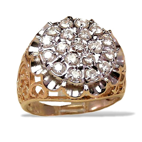 Men's Kentucky Cluster Diamond Ring, 1/2 carat of Diamonds total weight