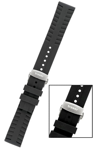 Traser Genuine OEM Signature Silicone Dive Strap with Deployment Buckle, 22mm, T40, 105727