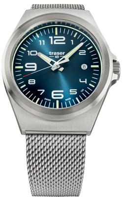 Traser P59 Essential M Blue Tritium Watch, Stainless Steel Mesh Bracelet, 108205