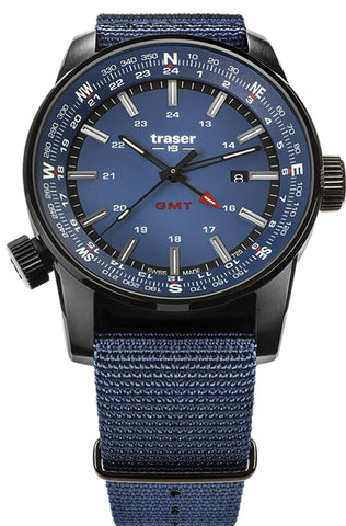Traser P68 Pathfinder GMT Tritium Watch with Dual Time and Compass Bezel, Blue 109034