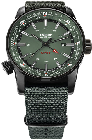 Traser P68 Pathfinder GMT Tritium Watch, Dual Time, Compass Bezel, Green 109035