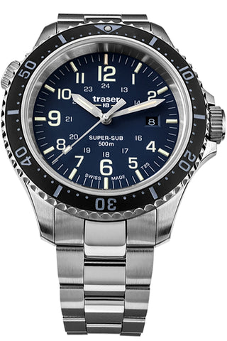 Traser P67 Super-Sub 500 Meter TRITIUM and Super-Luminova Dive Watch, Blue Dial, Steel Bracelet 109375