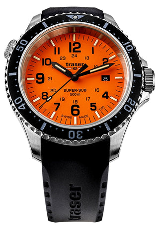 Traser P67 Super-Sub 500 Meter TRITIUM Professional Dive Watch, Dive Strap, Orange 109380