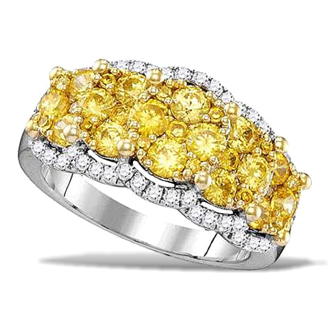 Stunning 2 carat t.w. Fancy Yellow and White Diamond Ring, 14k White Gold