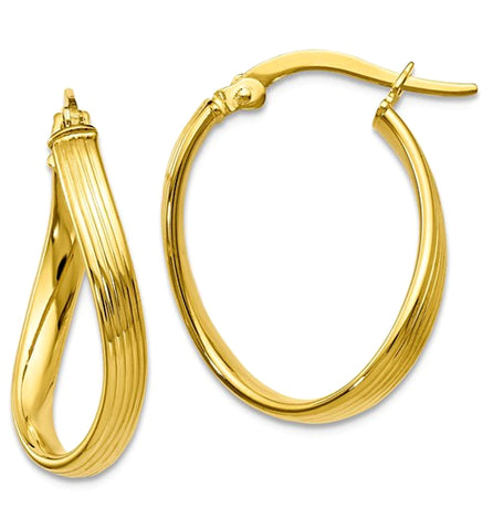 Leslies ZEN Freeform 10k Gold Hoops