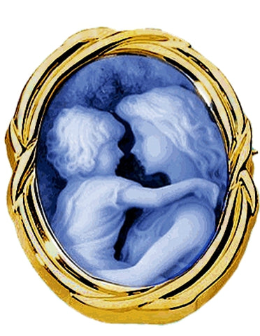 Everlasting Love Blue Agate Cameo 14k Gold Brooch-Pendant