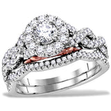 Hidden Blush Diamond Bridal Set, 1 carat total Diamond weight, 14k White and Rose Gold