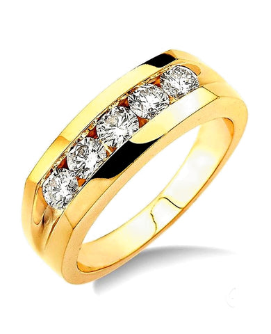 Men's Five Diamond Channel Set Wedding Band, 1/2 carat tw, 14k Gold