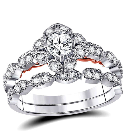 Romantic Vintage Bridal Set, 1/3 carat Diamond Solitaire, 3/4 carat t.w., 14k White Gold
