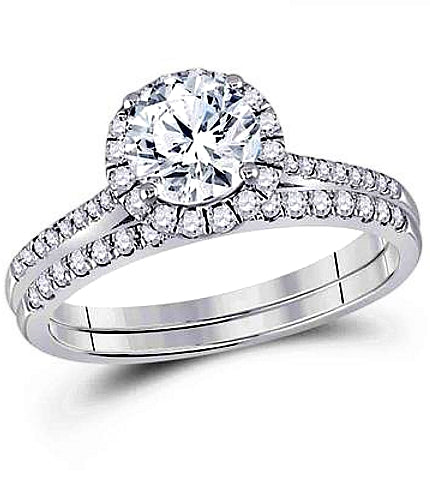 One Carat Diamond Solitaire in a Classic Halo Wedding Set, 1 3/8 ctw, 14k White Gold