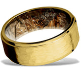 Hammered 14k Gold Wedding Ring with a King's Field Camo Sleeve by Lashbrook