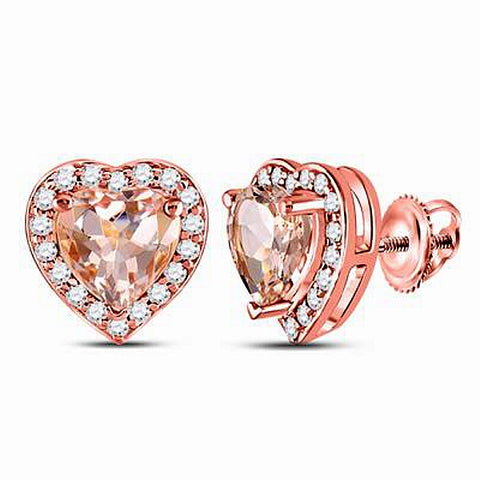 Genuine Morganite and Diamond Heart Shaped Earrings, 10k Rose Gold
