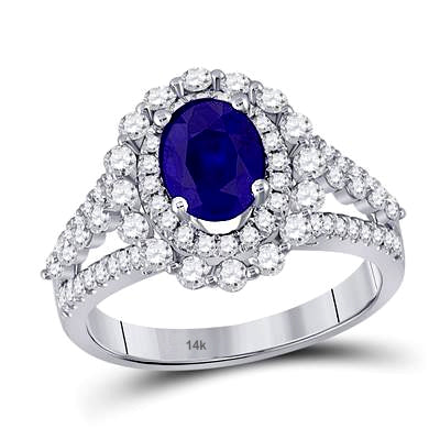 1-1/3rd carat Oval Sapphire with 1 carat tw Diamonds in a 14k White Gold Ring