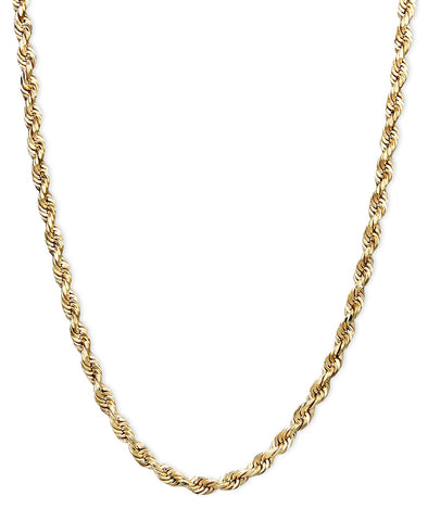 14k SOLID Gold Italian Diamond Cut Rope Chains, 2mm width