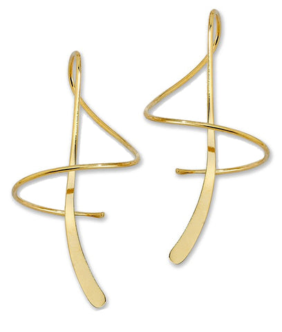Ear Spiral Dangle Earrings in 14k White or Yellow Gold