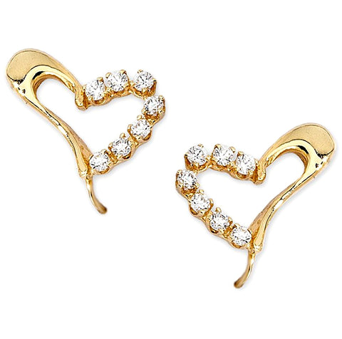 Jose Jay's Sparkling Heart 14k Gold Earrings