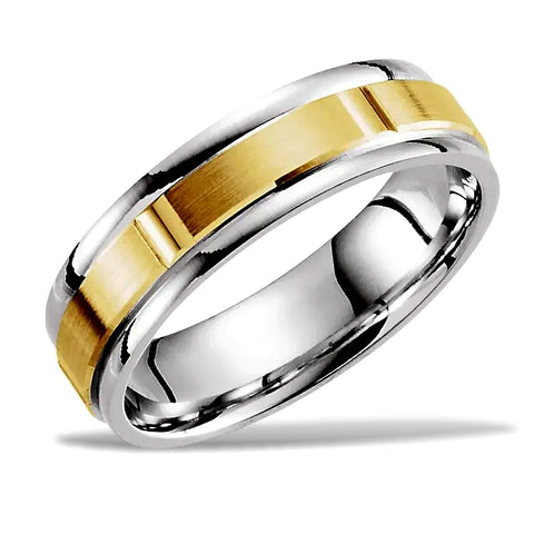 14k Two-Tone Gold Grooved Wedding Band - 6mm width