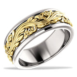 Cherish 14k True Two Tone Gold, Three Dimensional Sculptured Wedding Band
