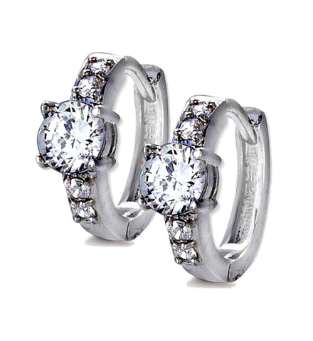 Jose Jay's Engagement Ring Style Sterling & CZ Hoop Earrings