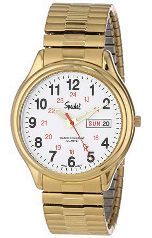 Speidel Men's Railroad Watch, Day-Date, Goldtone Steel