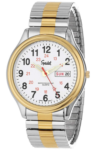 Speidel Men's Railroad Watch, Day-Date, Two-tone Steel