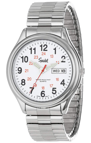 Speidel Men's Railroad Watch, Day-Date, Stainless Steel