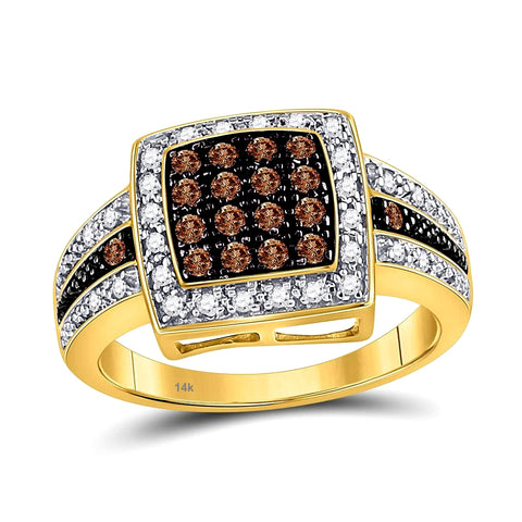 The Golden Azalea Diamond Ring, 1/2 carat t.w. of White and Cognac Diamonds in14k Gold