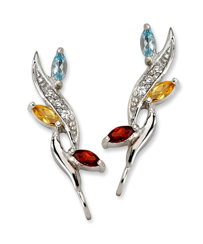 Jose Jay's Nature's Colors Diamond and Gemstone Earrings, Citrine, Blue Topaz and Garnet