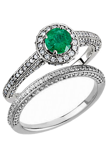 Genuine Emerald and Diamond Engagement Ring and Wedding Band, 14k White Gold