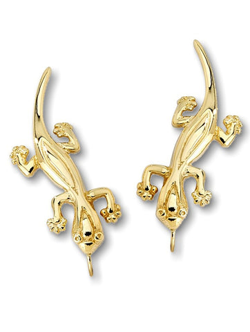 14k Gold Gecko Earrings, Jose Jay's Ear Climber EarPin Style