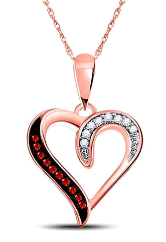 Dazzling Red & White Diamond Heart Pendant, 10k Rose Gold