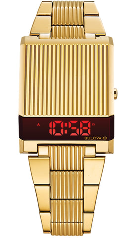 Bulova 1976 Re-Edition Computron Red LED Digital Watch, Goldtone Case, 97C110