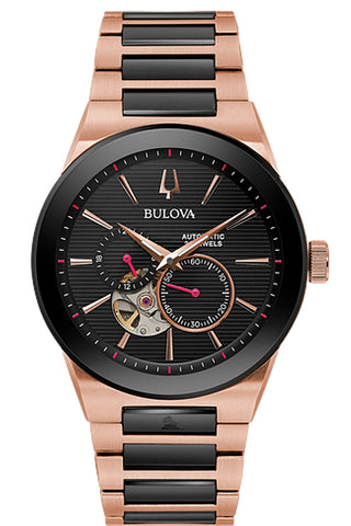 Bulova Latin GRAMMY Rose Goldtone & Black 21 jewel Automatic 98A236
