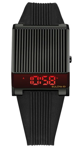 Bulova 1976 Re-Edition Computron Black Watch with Red LED Digital, 98C135